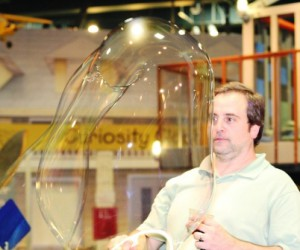 Photo: Dennis makes a big bubble