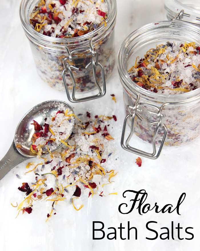 These Floral Bath Salts are made with lavender essential oil, dried flowers and dead sea salt. Add them to your tub for a super relaxing experience!