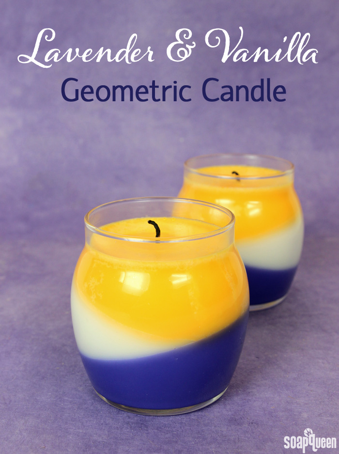 This Lavender and Vanilla Geometric Candle features layer of scents and color to keep your room smelling amazing!