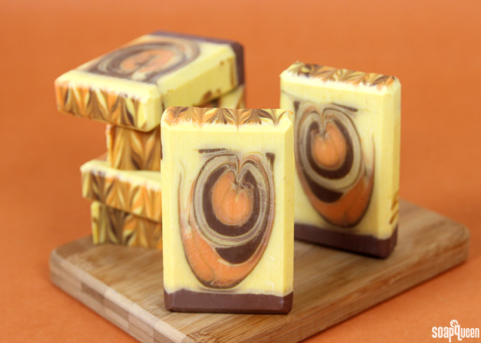 This Pumpkin Spice Swirl Soap is made with real pumpkin puree. Scented with pumpkin spice, this soap is perfect for fall!