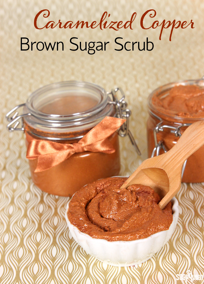 This Caramelized Copper Sugar Scrub is made with avocado butter and lots of sparkle for a hydrating and luxurious feel.