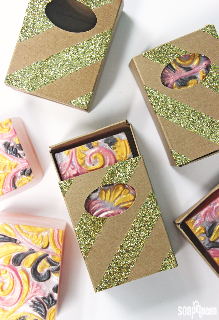 DIY Glitter Soap Boxes Tutorial. A little glitter takes these boxes from simple to amazing!