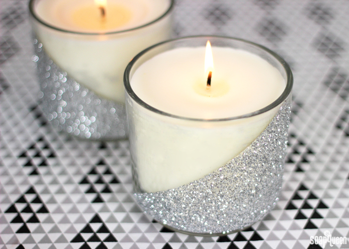 These Silver Glitter Candles are easy to make, and fill your home with a sweet pine scent.