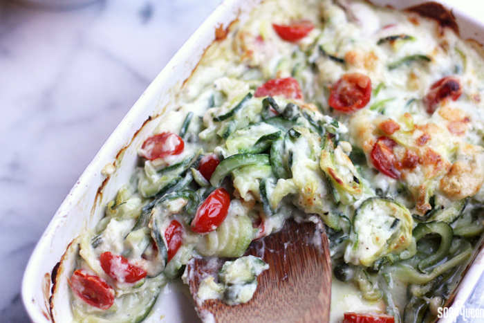 This Zucchini Noodle Bake uses zucchini noodles instead of pasta, and a creamy white sauce made from cauliflower. It's a delicious way to eat your veggies!