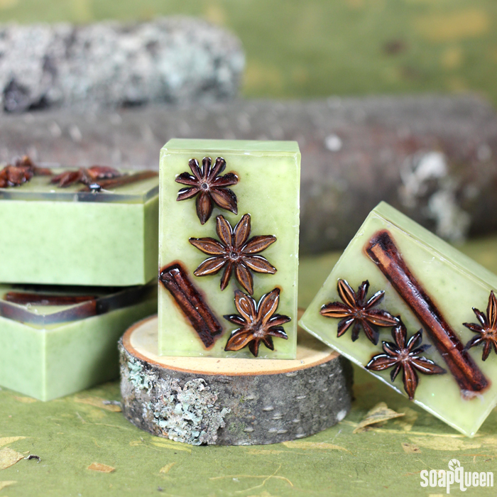 These Star Anise Soap Bars are colored with clay and scented with a blend of orange and anise essential oils. Star anise and cinnamon embeds on top give these bars a rustic look.