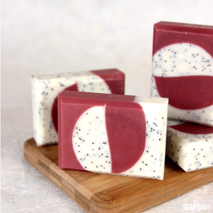 Learn how to make this Currant and Cranberry Cold Process Soap which is made with poppy seeds for light exfoliation.