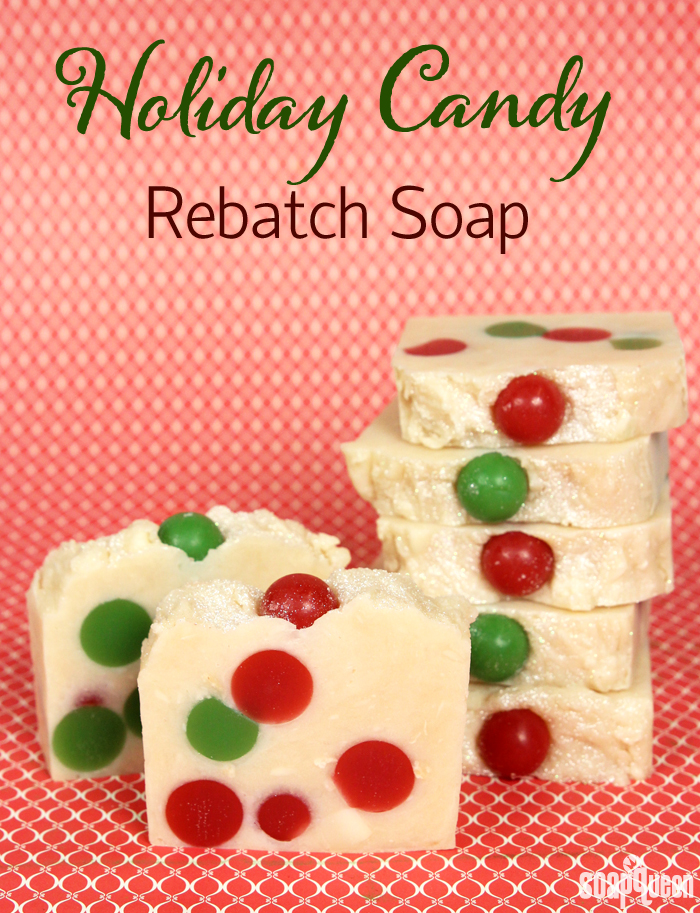 This Holiday Candy Rebatch Tutorial creates festive bars of soap that smell delicious!