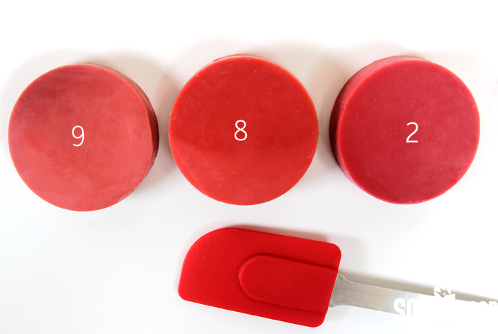 Creating the perfect red shade is difficult in cold process soap. This post includes over 15 color blends to help you find the perfect red for your project.