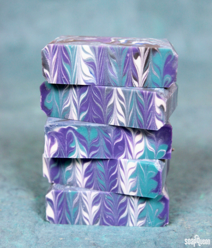 This Galaxy Clyde Slide Cold Process soap creates a unique swirl pattern inspired by space. Learn how to make it here!