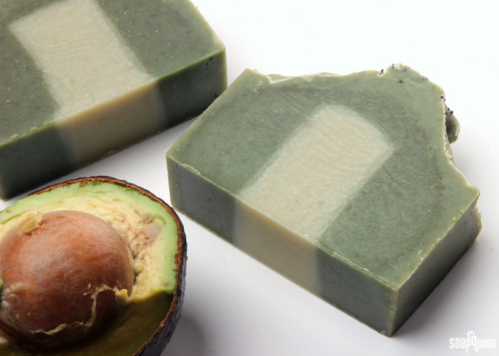 Avocado puree is a great additive for cold process soap. But, the extra water can lead to glycerin rivers.