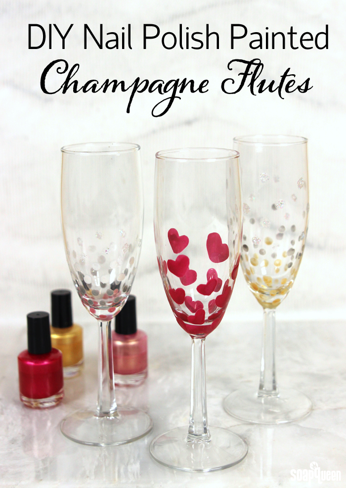 decorate champagne glasses. Use nail polish to create festive champagne glasses  Works great with other glass surfaces DIY Nail Polish Painted Champagne Flutes Soap Queen