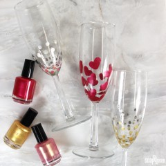 Nail Polish Painted Champagne Glasses