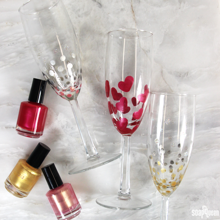 Diy nail polish painted champagne flutes soap queen for What paint do you use to paint wine glasses