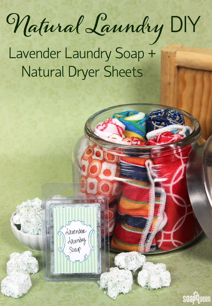 Want to make natural laundry products? Click here for a laundry soap recipe, along with natural dryer sheets!