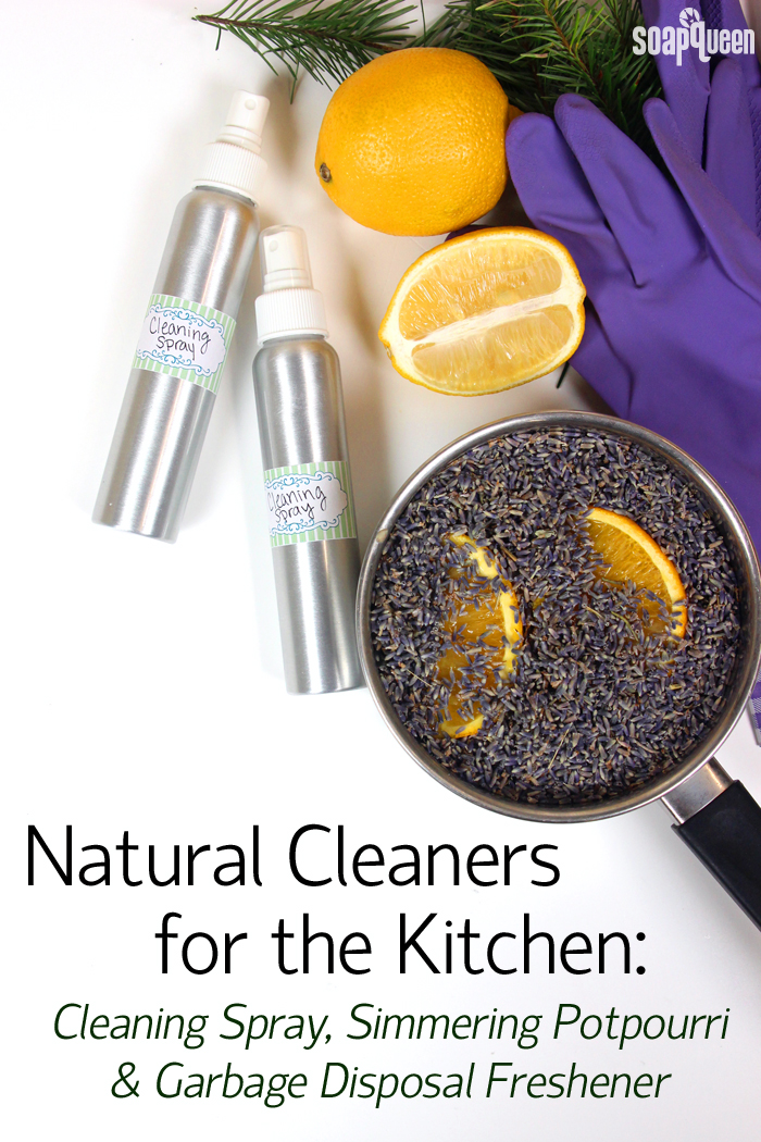 Learn how to make a natural cleaning spray, garbage disposal cleaner and simmering lavender potpourri in this post!