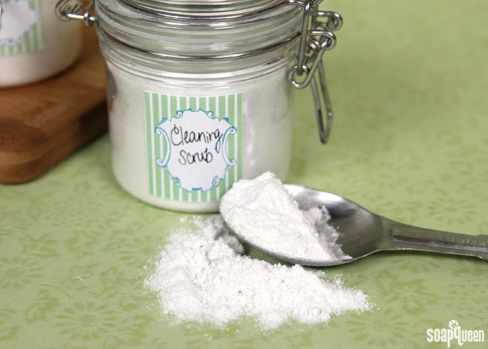 This natural soap scum cleaner is made with baking soda, pumice, and salts to scrub away dirt and grime.