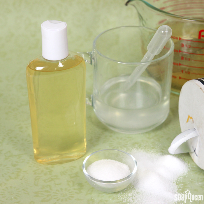 Learn how to thicken liquid soap base with a natural salt solution.