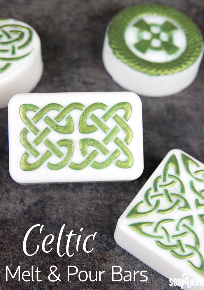 These Celtic Melt and Pour Soap Bars are made with green mica and Green Tea and Cucumber Fragrance Oil for a fresh scent.