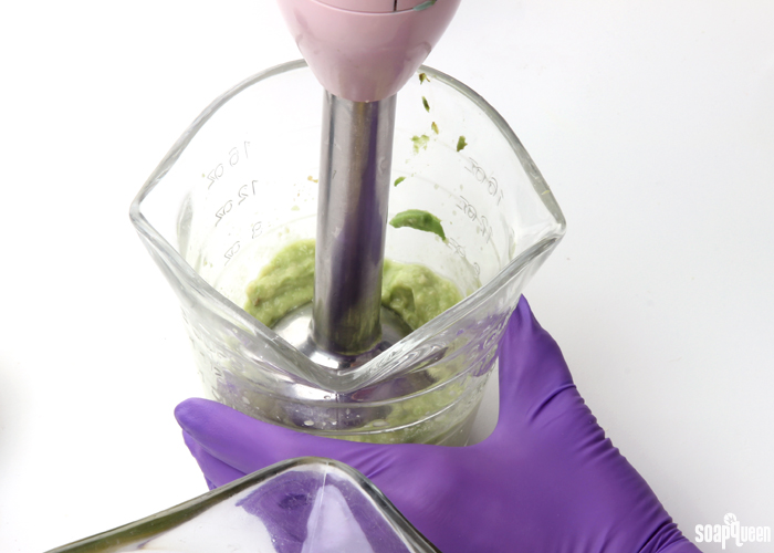 Adding avocado puree