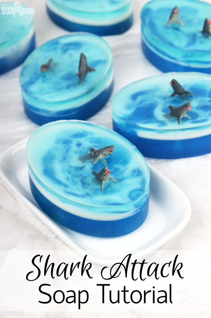 Shark Attack Soap Tutorial /// Learn how to create these adorable shark soaps!