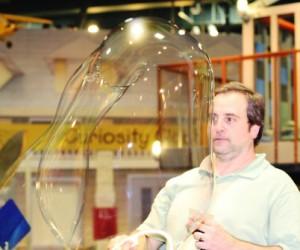 Photo: Dennis makes a big bubble