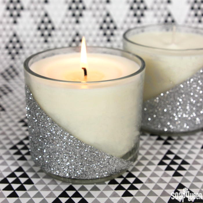 Silver Glitter Candle DIY Kit