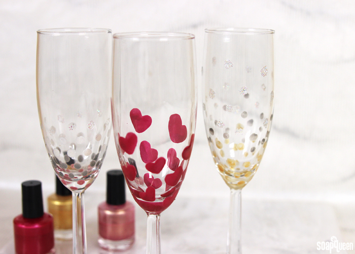 DIY Nail Polish Painted Champagne Flutes - Soap Queen