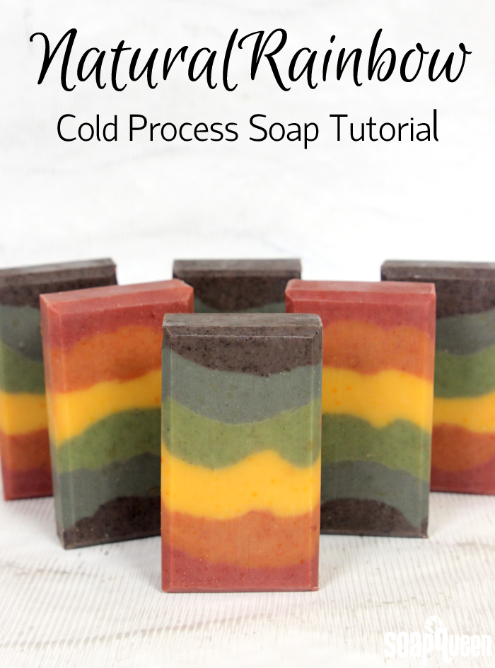 Learn how to create rainbow colored soap using only natural colorants, such as spirulina powder, indigo and madder root powder.