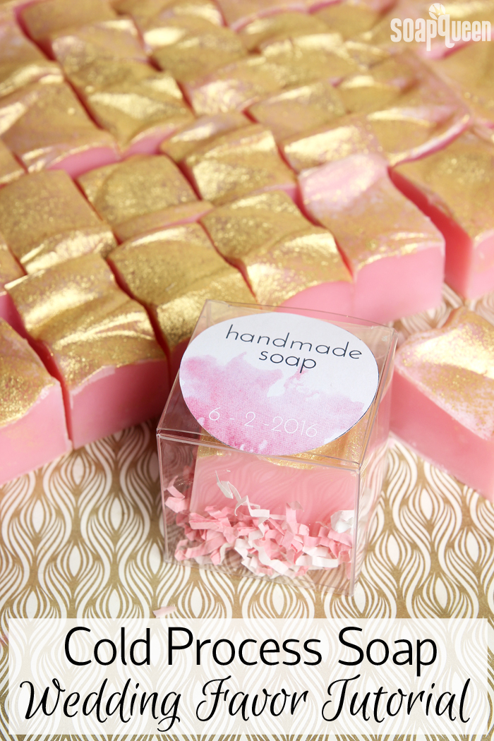 Handmade soap is the perfect wedding favor. Click here to learn how to make 72 bars in as little as two hours. Post includes a free printable to package each bar.