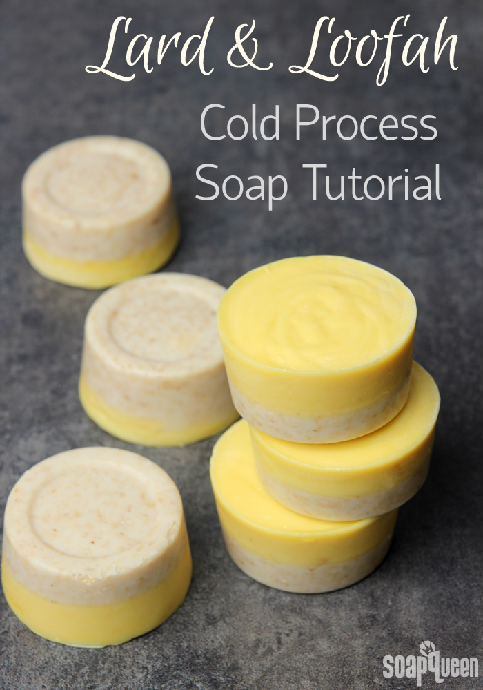 This Lard and Loofah Soap Recipe contains lard to give the soap a creamy lather. The light yellow color comes from natural carrot puree.
