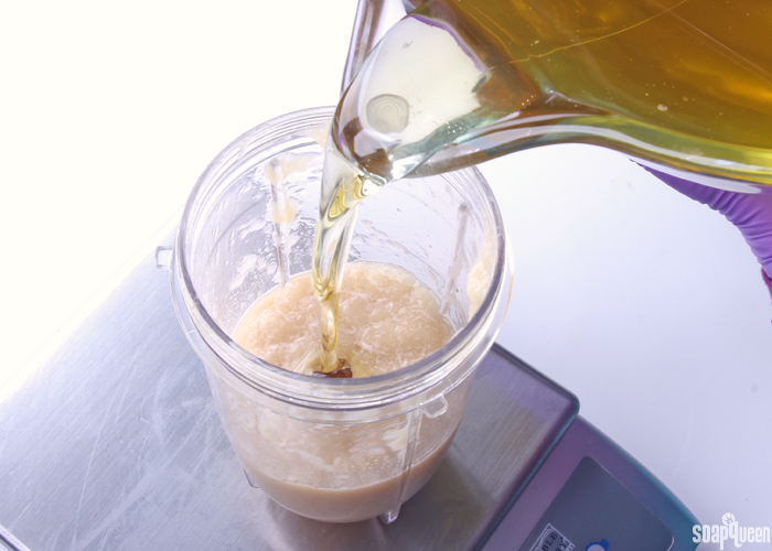 Blending the kombucha and SCOBY together to create a puree. This puree is added to the soap at trace.