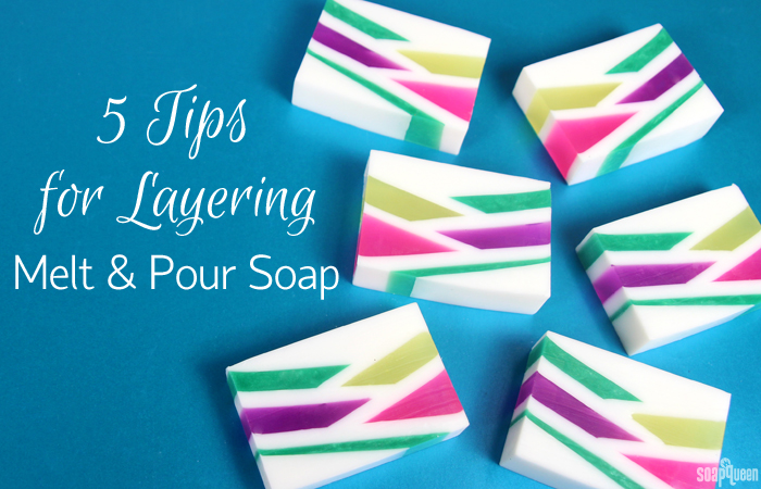 This post includes 5 helpful tips for creating even layers that stick together in melt and pour soap!