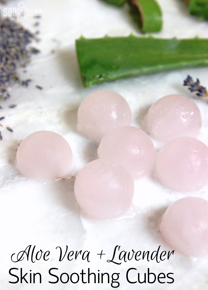 Aloe Vera + Lavender Skin Soothing Cubes. Made with aloe vera liquid and lavender essential oil, these cubes help soothe irritated or burned skin.