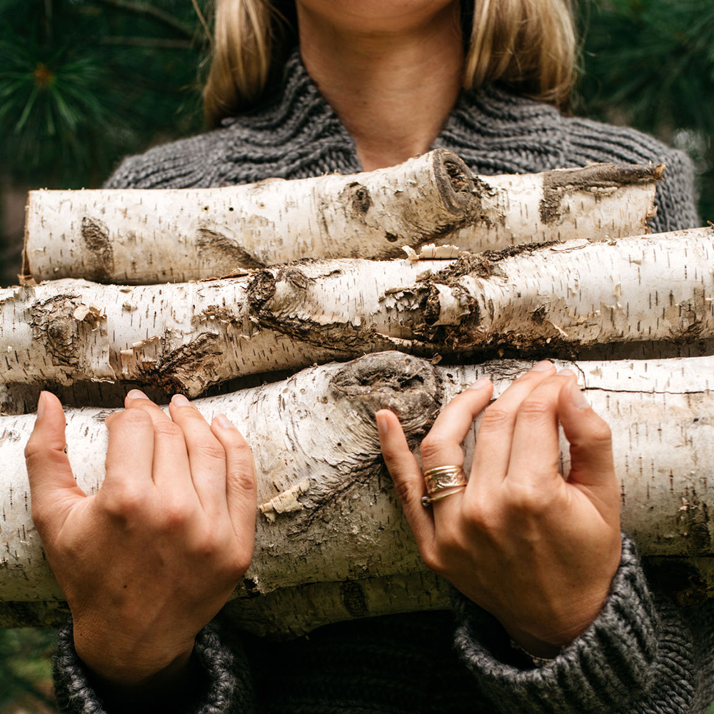 Woman In Forest Holding Firewood